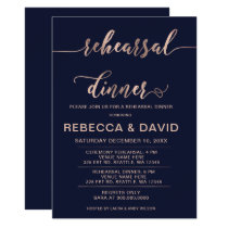 Navy and Rose Gold Elegant Script Rehearsal Dinner Card