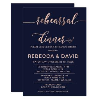 Navy and Rose Gold Elegant Script Rehearsal Dinner Card