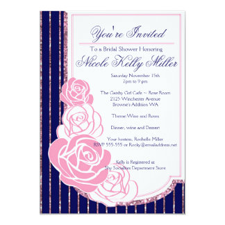 Navy and Roses Art Nouveau Card