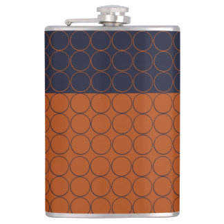 Navy and Rust Circles Flask