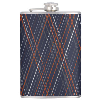 Navy and Rust Crossing Diagonal Lines Flask