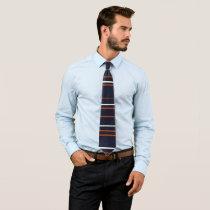 Navy and Rust Horizontal Stripes Neck Tie