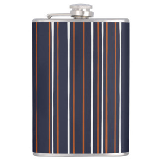 Navy and Rust Stripes Flask