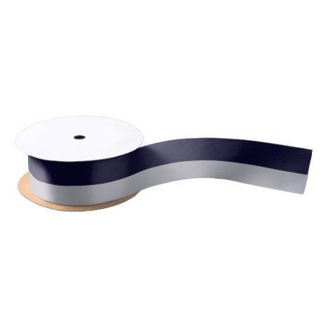 """Navy and Silver 1.5"""" Wide Satin Ribbon"""