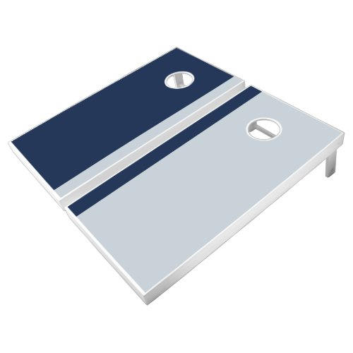 Navy and Silver Add Your Logo Cornhole Set