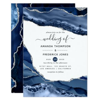 Unique Navy Blue and Silver Wedding Invitations Agate