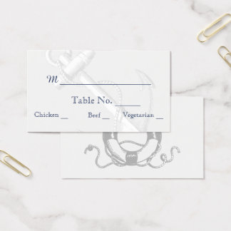 Navy and Silver Anchor Beach Wedding Place Cards