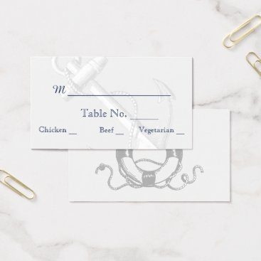 Beach Themed Navy and Silver Anchor Beach Wedding Place Cards