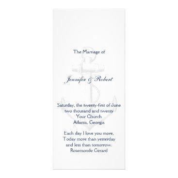 Beach Themed Navy and Silver Anchor Beach Wedding Program