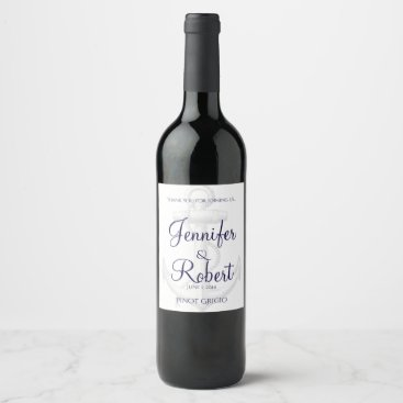Beach Themed Navy and Silver Anchor Beach Wedding Wine Label