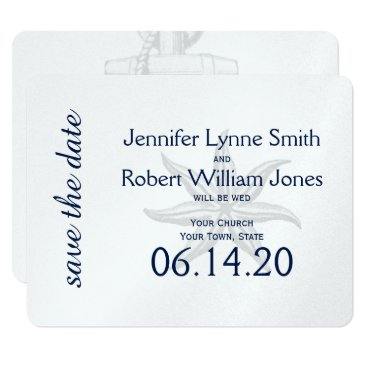 Beach Themed Navy and Silver Anchor Wedding Save the Date Card