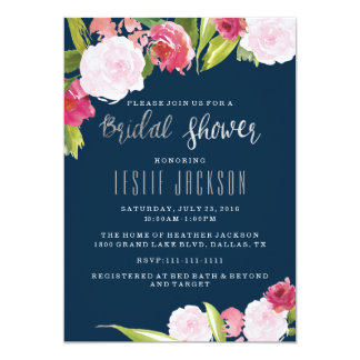Navy and Silver Bridal Shower Invitation