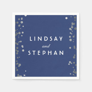 Navy and Silver Confetti Dots Wedding Napkin