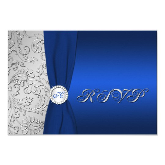 Navy and Silver Damask Monogrammed RSVP Card