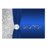 Navy and Silver Damask Monogrammed RSVP Card Personalized Invitation