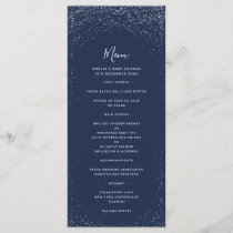 Navy and Silver Faux Foil Menu