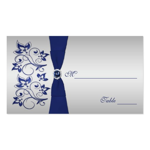 Navy and Silver Floral Placecards Business Cards