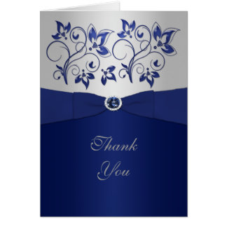 Navy and Silver Floral Thank You Card