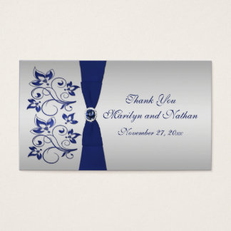 Navy and Silver Floral Wedding Favor Tag