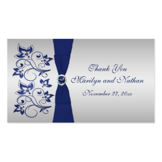 Wedding Gift Tag Lines : Navy and Silver Floral Wedding Favor Tag by NiteOwlStudio