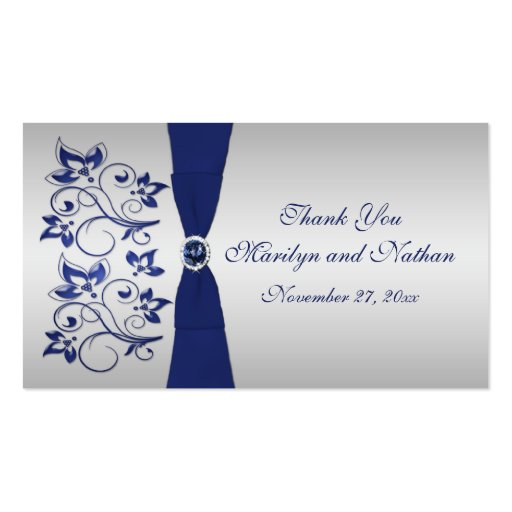 Navy and Silver Floral Wedding Favor Tag Business Cards