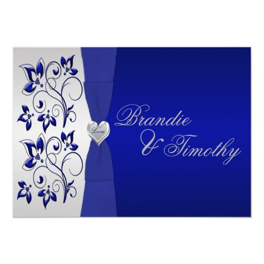 Navy and Silver Floral Wedding Invitation