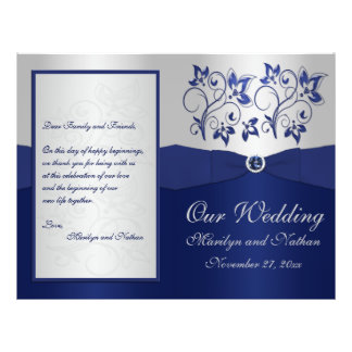 Navy and Silver Floral Wedding Program Flyers