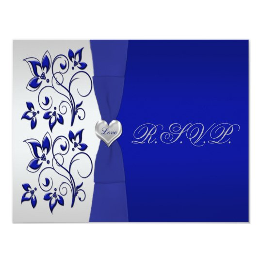 Navy and Silver Floral with Silver Heart RSVP Card