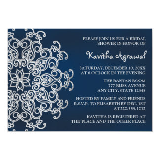 Navy and Silver Indian Inspired Bridal Shower Card