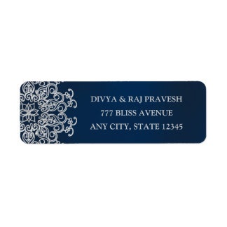 Navy AND Silver INDIAN Style ADDRESS LABELS