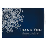 NAVY AND SILVER INDIAN STYLE WEDDING THANK YOU CARD
