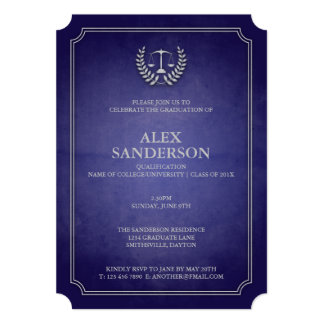 Navy and Silver Law School Graduation Announcement