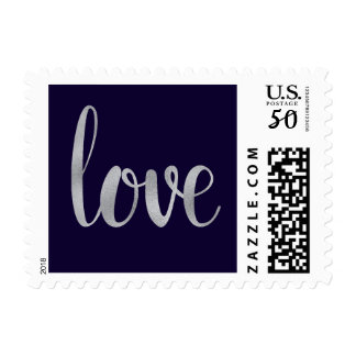 Navy and silver love stamps