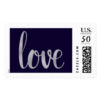 Navy and silver love stamps- large postage