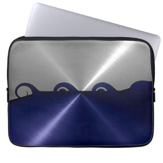 Navy and Silver Stainless Steel Metal Swirl Laptop Sleeve