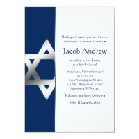 Navy and Silver Star of David Bar Mitzvah Invites