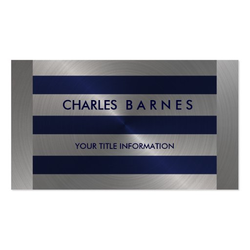 Navy and Silver Stripe Business Card