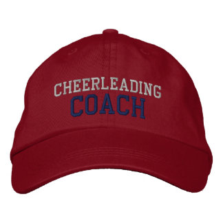 Navy and Silver Text Cheerleading Coach Hat Embroidered Baseball Cap