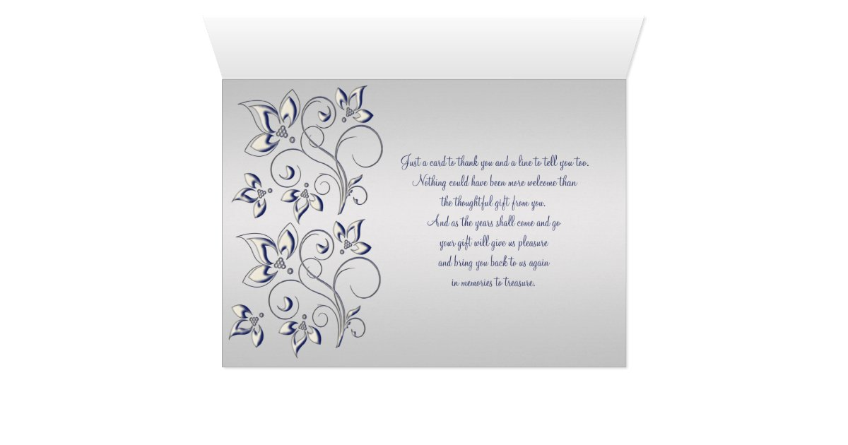 thank you card inserts navy and silver thank you card with photo insert zazzle thank you card inserts