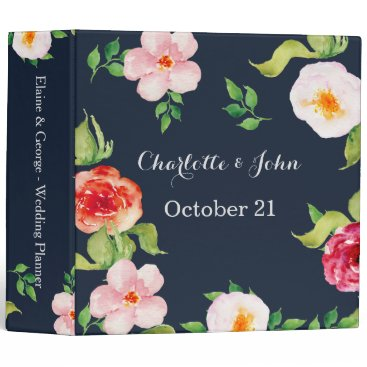 navy and silver watercolor flowers wedding 3 ring binder