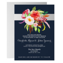 navy and silver watercolor flowers wedding card