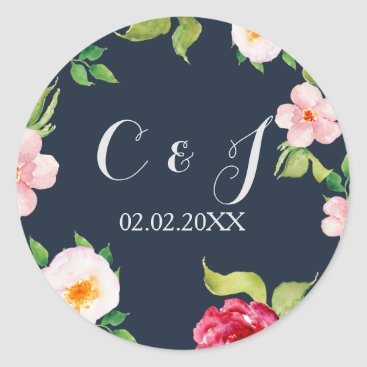 navy and silver watercolor flowers wedding classic round sticker