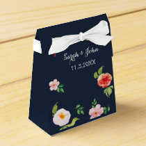 navy and silver watercolor flowers wedding favor box