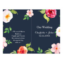 navy and silver watercolor flowers wedding flyer