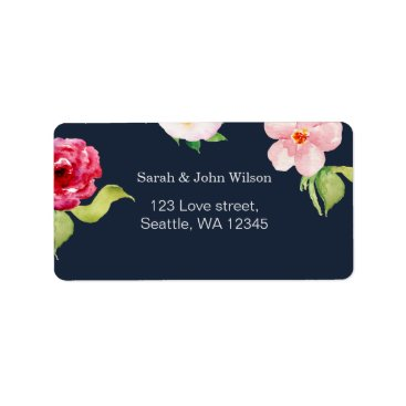 navy and silver watercolor flowers wedding label