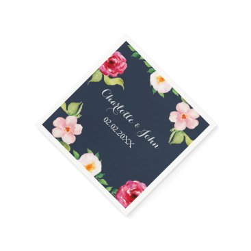 navy and silver watercolor flowers wedding napkin