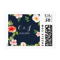 navy and silver watercolor flowers wedding postage