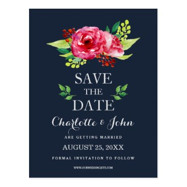 navy and silver watercolor flowers wedding postcard