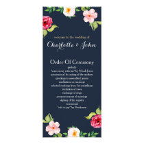 navy and silver watercolor flowers wedding rack card