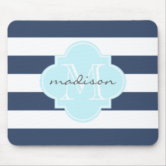 Navy and Sky Blue Nautical Stripes Custom Monogram Mouse Pad